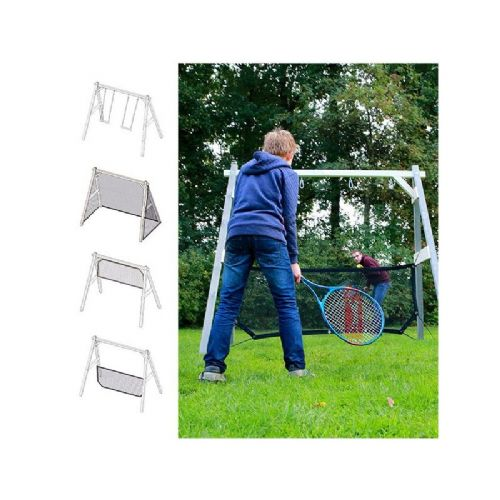 Norfolk Grey and White Wooden Swing Set with Combi Football Goal and Volleyball Net